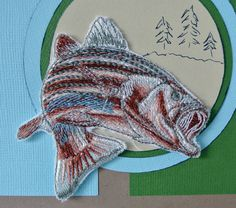 Fishing Card  Bass Fish custom embroidered by AddieRecoyDesigns, $11.00