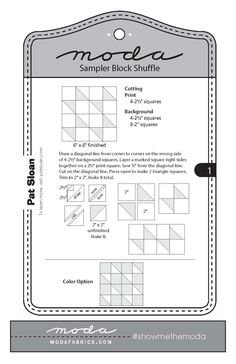 Hi there! I have something fun to share with you guys today! Moda came out with this fun Moda Sampler Block Shuffle. Each block is des...