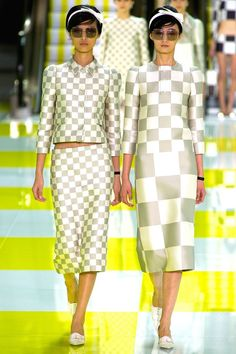 Checkboard dreams at Louis Vuitton S/S 13 Although reminiscent of Marc Jacobs' own S/S 13 collection, he kept Vuitton a bit more lady like and less edgy, but still fresh