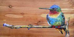 """hummingbird III 4.5"""" x 8.5"""" color pencils on wood"""