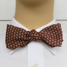 9d5815056931 Vintage Self Tie Bowtie, Brown, Cream And Orange at abbeysaccessories on  Etsy Colored Diamonds