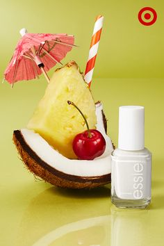 Give your manicure a taste of the summer tropics with a little piña colada for your nails. Main ingredient: Blanc nail color from essie.