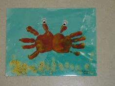 Totally Tots: Crafty Corner ~ Ocean - adorable handprint crab and SEVERAL other ocean themed crafts! Ocean Theme Crafts, Ocean Themes, Summer Crafts For Kids, Art For Kids, Spring Crafts, Crafts To Do, Arts And Crafts, Crab Crafts, Dinosaur Crafts