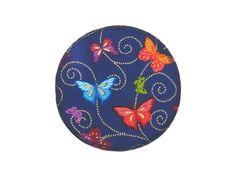 Knieflicken Schmetterlinge blau runder Aufnäher von Silwarin auf DaWanda.com