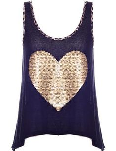 Heart of Gold Tank: Features a clean scoop neck trimmed with animal-print themed piping, sparkling oversized gold heart to the front, exceptionally soft and lightweight jersey fabric throughout, and a trend-right high-low hem to finish.
