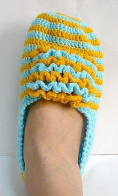 Slippers Crochet Pattern Adult Shoes Crochet Pattern PDF Instant Download Frilly Front Blue with Yellow Slippers via Etsy