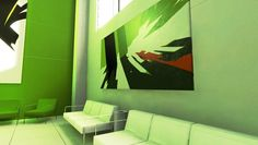 interieur from the video game mirrors edge - the game captures the player with high-pace game play and a unique style