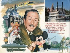 Walt Disney: A rendering from an  early Disneyland guide book.