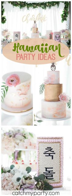 This party is a Korean Dol and a chic Hawaiian themed first birthday! See more party ideas at Catchmyparty.com!