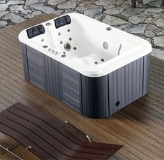 New Two 2 Person Hydrotherapy Bathtub Hot Bath Tub Whirlpool Jacuzzi SPA Bathtub Drain, Soaking Bathtubs, Jacuzzi Tub, Jetted Tub, Bath Tub, Bathroom Tubs, Garden Bathtub, Bathroom Ideas, Large Bathtubs