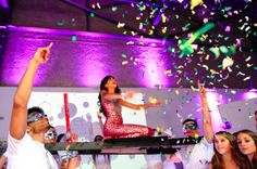 Bat Mitzvah entrance with confetti….