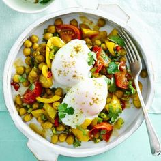 Start your weekend in style - Indian chickpeas with poached eggs. This healthy satisfying dish from our new 7-day Summer Diet Plan makes a great breakfast brunch or lunch. Find the plan and all recipes in the new @bbcgoodfood and on our website by bbcgoodfood