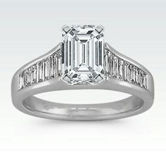 Cathedral and Baguette set engagement ring $1450 Emerald Cut Diamond 1ct. $3770 $5220 Clarity S12 Color F Cut Very good  L/W Ratio 1.41 Measurement Length 6.55 Width 4.66 Certificate Lab GIA Shane Co.