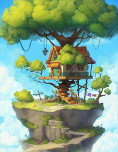 Tree House Illustration Concept Art Ideas The Effective Pictures We Offer You Concept Art Landscape, Fantasy Landscape, Landscape Art, Digital Art Fantasy, Fantasy Kunst, Fantasy Art, Art And Illustration, Tree House Drawing, Rpg Map