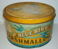 Vintage Blue Bird Marshmallow tin