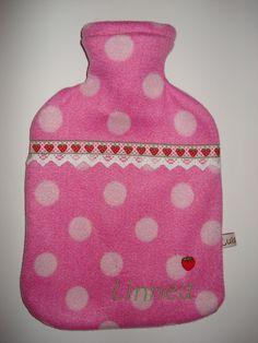 Wärmflaschenhülle  #Wärmflasche #Wärmflaschenhülle #rosa #Punkte #Erdbeeren