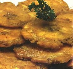 Fried green plantains (Patacones)