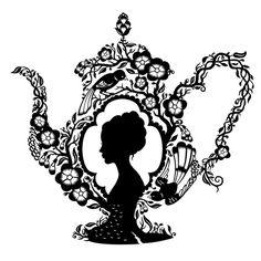 high tea, beautiful silhouette in a tea pot