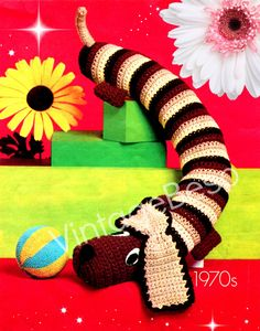 Doggie Door Draft Stopper 1970s CROCHET PATTERN Bohemian Dachshund Draught Excluder Home Decor to prevent cold winds- Pdf - INSTANT Download by VintageBeso on Etsy