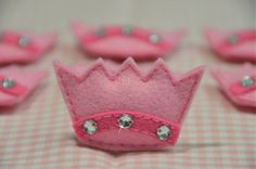 Set of 6pcs handmade puffy felt crownbaby pink FT619 by AsecInc, $5.39