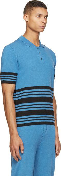 J.W.Anderson Blue Merino Wool Striped Tracksuit Polo