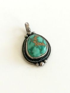 SOLD Vintage Silver and Turquoise Pendant Native by VintageRenude