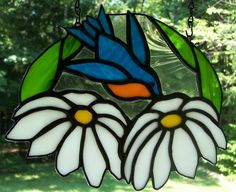 Stained glass panel - bluebird and daisies