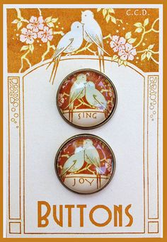 SWEET BLUE BIRDS w/MESSAGES Glass BRASS DOME BUTTONS PAIR 20mm VINTAGE Sing~Joy