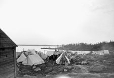 Prisoner tents on shore at Spirit Lake internment camp, Abitibi, Quebec La Rive, Lake Arrowhead, Canada, Lest We Forget, World War One, Wwii, Outdoor Gear, Public, Camping