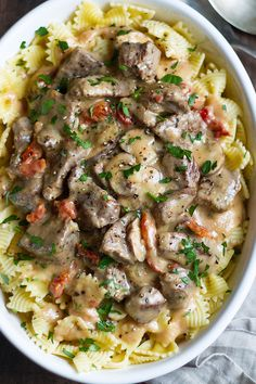Beef Stroganoff – Delicious and nourishing slices of beef cooked with an amazing creamy mushroom and sun-dried tomato sauce.