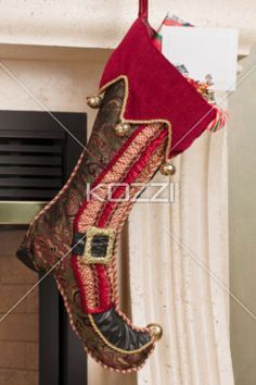 christmas stocking and placard. - Close-up shot of elegant Christmas stocking with empty placard.