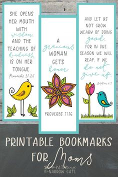 Whether you are a teacher and need a fast and easy gift for students to give to their moms or you are a mom and want to treat yourself, these charming Printable Bookmarks for Moms are exactly what you need! Featuring adorable birds and flowers and four ve Diy Bookmarks, Printable Bookmarks, Womens Day Gift Ideas, Mother's Day Printables, Bible Bookmark, Christian Crafts, Christian Teacher Gifts, Mothers Day Crafts For Kids, Kids Crafts
