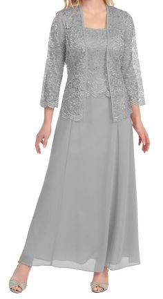 Mother of Bride Formal Gown Chiffon Lace With Jacket Dress EIGHT colors 8466SF