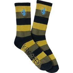 Krooked Shomolo Stripe Black / Yellow / Tan Crew Socks Single Pair   Warehouse Skateboards