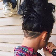Long Hair Undercut with Design