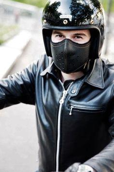 Masque moto en cuir - SLIM LEATHER MASK - Sankakel
