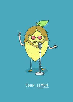 John Lemon by Charly Clements Illustration. Cute Jokes, Cute Puns, Funny Puns, Funny Cartoons, Hilarious, Funny Humour, Lemon Puns, John Lemon, Funny Doodles