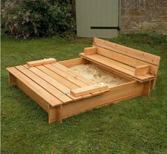 Genius idea. Sandbox cover becomes a seat.
