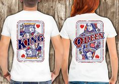 King and Queen shirts couple t shirt couple tees King Queen couple tshirts funny matching couple shirts wedding gift anniversary gift by somanygreatthings on Etsy
