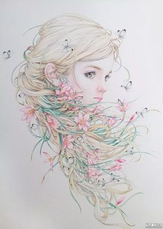 Art Anime Fille, Anime Art Girl, Cartoon Kunst, Cartoon Art, Art And Illustration, Colorful Drawings, Cute Drawings, L'art Du Portrait, Stippling Art