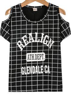 Black Off the Shoulder Plaid REALIGN Print T-Shirt - Sheinside.com