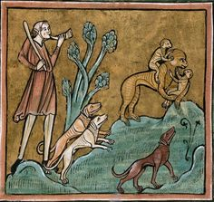 A hunter and dogs pursuing a monkey and its young. Folio 17r: The Rochester Bestiary c.1230, copy from c.1230AD, Southeastern Endland. Manuscript Royal 12 F XIII