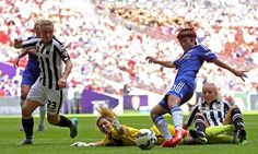 Chelsea Ladies' Ji So-Yun scores the opening goal of the game during the Women's FA Cup Final against Notts County Ladies at Wembley Stadium.