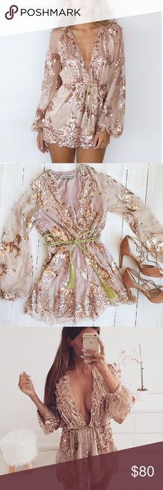 Autumn Gold sequin embroidery elegant  romper NWT Brand new never worn! Polyester,Spandex brand is not free people but very similar. Free People Pants Jumpsuits & Rompers