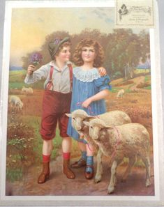 Up for your consideration is a reproduction turn of the century stone lithograph Victorian print. The print is perfect. Manufacturer: Old Print Factory. Boy Meets Girl, Boy Or Girl, Iron Coffee Table, Print Pictures, Kids Boys, Sheep, Best Friends, Victorian, Children