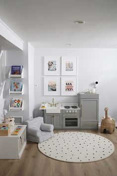 Our Basement Playroom Before and After – Danielle Moss - Kids Playroom Ideas Loft Playroom, Toddler Playroom, Playroom Organization, Playroom Design, Playroom Decor, Playroom Ideas, Pottery Barn Playroom, Basement Play Area, Montessori Toddler Rooms