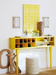 Sideboard Storage Fashion your own wall buffet with ordinary shoe organizers. Place same-size cubby-style shoe organizers side by side and screw them together Stencil Wall Art, Diy Wall Art, Wall Design, House Design, Design Art, Mini Loft, Wall Storage, Shoe Storage, Storage Ideas