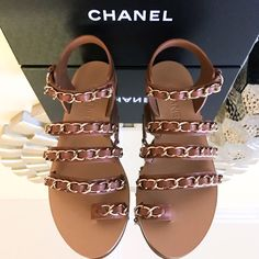 Get the must-have sandals of this season! These Chanel Brown Beige Gold Chain 17 Gladiator Sandals Size EU 38 (Approx. US Regular (M, B) are a top 10 member favorite on Tradesy. Save on yours before they're sold out! Brown Sandals, Flat Sandals, Gladiator Sandals, Shoes Sandals, Heels, Chanel Sandals, Chanel Shoes, Toe Rings, Brown Beige