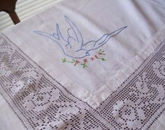bluebirds in linens | Large Vintage Tablecloth Embroidered Bluebirds & Crochet, White Linen ...