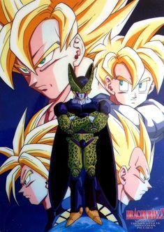Vegeta, Goku, Gohan, Trunks, and Perfect Cell